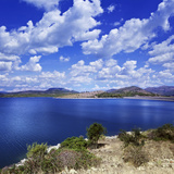 Tranquil Lake Against Cloudy Sky, Sardinia, Italy Photographic Print