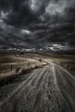 A Country Road in Field with Stormy Sky Above, Tuscany, Italy Photographic Print