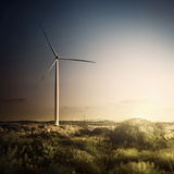 Wind Turbine in a Field in the Evening, Sardinia, Italy Photographic Print