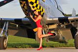 Sexy 1940's Style Pin-Up Girl Posing with a P-51 Mustang Photographic Print