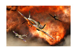 British Supermarine Spitfires Bursting Through Explosive Flames Poster