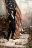 American Civil War Painting of President Abraham Lincoln Holding the American Flag Affiches