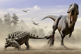 An Euoplocephalus Hits T-Rex's Foot by its Mace Like Tail in Self-Defense Pôsteres