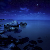 Nighttime Photo of Sea and Starry Sky, Burgas Region, Bulgaria Photographic Print