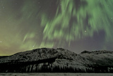 Aurora Borealis over Mountain, Annie Lake, Yukon, Canada Photographic Print
