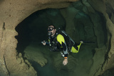 Diver Exploring Underwater Cavern and Caves, Raja Ampat, Indonesia Photographic Print