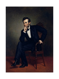 American Civil War Painting of President Abraham Lincoln Seated in a Chair Art