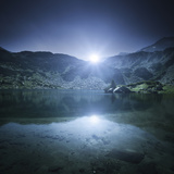Ribno Banderishko Lake with Setting Sun, Pirin National Park, Bulgaria Photographic Print