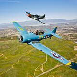 A T-6 Texan and P-51D Mustang in Flight over Chino, California Photographic Print