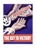 World War II Propaganda Poster of Someone Giving a Large Key to the Hand of Uncle Sam Print