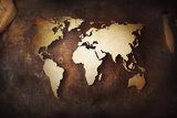 Aged World Map on a Dirty Piece of Fabric Plakater