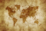 Aged World Map on Dirty Paper Kunst
