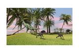 A Dilophosaurus Chasing Two Gigantoraptors across a Grassy Field Art