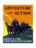 World War One Propaganda Poster of Soldiers Pulling Artillery with Horses Posters