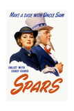 World War II Poster of a Female Coast Guard Cadet and Uncle Sam Poster