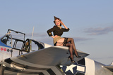 Pin-Up Girl Sitting on the Wing of a P-51 Mustang Photographic Print