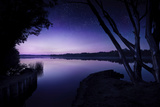 Tranquil Lake and Trees Against Starry Sky, Moscow, Russia Photographic Print