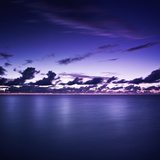 Tranquil Ocean at Night Against Moody Sky, Gagra, Abkhazia Photographic Print