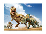 Tyrannosaurus Rex Fighting with Two Triceratops Prints