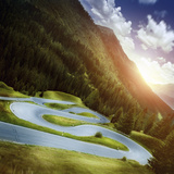 Winding Road in a Forest of Dolomite Alps at Sunset, Northern Italy Photographic Print