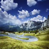 Winding Road in a Forest of Dolomite Alps, Northern Italy Photographic Print