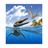A Plesiopleurodon Jumps Out of the Water, Attacking an Ornithocheirus Stampe