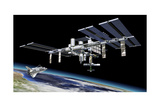 Space Station in Orbit around Earth with Space Shuttle Poster