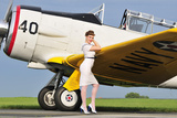 1940's Style Navy Pin-Up Girl Leaning on the Wing of a T-6 Texan Photographic Print