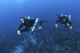 Technical Divers with Equipment Swimming in Caribbean Reef Photographic Print