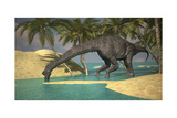 Large Brachiosaurus Drinking Water from a Stream Láminas
