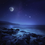Rocks Seaside Against Rising Moon and Starry Field, Crete, Greece Photographic Print
