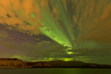 Colorful Aurora Borealis over Lake, Yukon, Canada Photographic Print