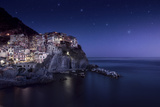 View of Manarola on a Starry Night, La Spezia, Liguria, Northern Italy Photographic Print