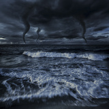 Tornados in a Rough Sea Against Stormy Clouds, Crete, Greece Photographic Print