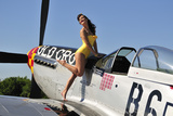 Beautiful 1940's Style Pin-Up Girl Posing with a P-51 Mustang Photographic Print