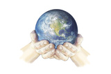 Hands Cupping Earth, Art Print