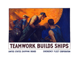 World War II Propaganda Poster of a Team of Men Riveting the Hull of a Ship Posters