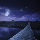 A Bridge across the River at Night Against Starry Sky, Russia Photographic Print