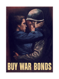 World War II Propaganda Poster of a Soldier Embracing a Woman Stampe