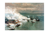 Vintage American Civil War Print of the Battle of Mobile Bay Poster