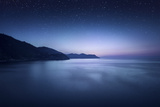 Aerial View of Sea and Mountains on a Starry Night, Manarola, Italy Photographic Print