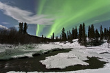 Aurora Borealis over Creek, Yukon, Canada Photographic Print