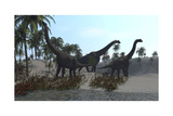 Three Brachiosaurus Dinosaurs Grazing Prints