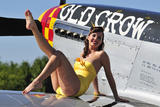 Cute Pin-Up Girl Sitting on the Wing of a P-51 Mustang Photographic Print