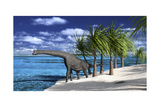Large Brachiosaurus on the Shoreline Póster