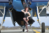 1940's Style Pin-Up Girl in Cocktail Dress Posing in Front of a Tbm Avenger Photographic Print