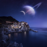 View of Manarola on a Starry Night with Planets, Northern Italy Photographic Print