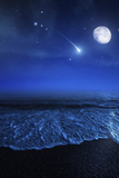 Tranquil Ocean at Night Against Starry Sky, Moon and Falling Meteorite Reproduction photographique