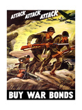 World War II Propaganda Poster of Soldiers Assaulting a Beach with Rifles Stampe