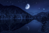 Moon Rising over Tranquil Lake in the Misty Mountains Against Starry Sky Photographic Print
